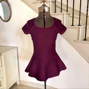 Zara Maroon Red Peplum Short Sleeve Top